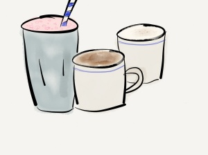 image strawberry milkshake and hot chocolate